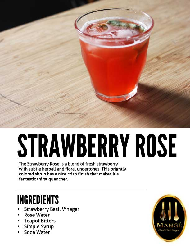 Strawberry rose Shrub Drinking Vinegar